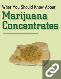 Cover of What You Should Know About Marijuana Concentrates showing an image of thick brown marijuana concentrate on wax paper
